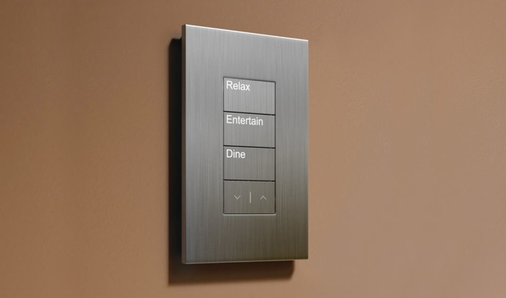 Lutron_Lighting_Palladiom_Keypad_Brown_Wall_Silver_Faceplate_Relax_Entertain_Dine_Buttons_White_Backlit_LED