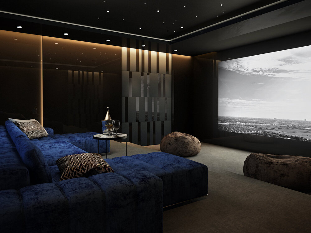 Home_Cinema_Room_Greyscale_Video_Navy_Blue_Sofa_Brown_Camel_Walls_Starlight_Ceiling_Side_Profile_Oxshott